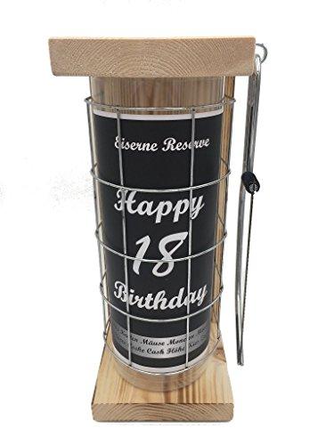 Happy Birthday 18 Eiserne Reserve Spardose incl. Säge zum zersägen des Gitter, Geldgeschenk, das andere Sparschwein, witzige Sparbüchse, Geschenkidee