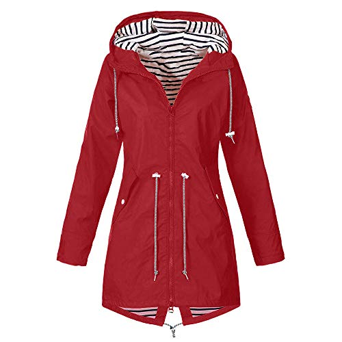 LoveLeiter Damen Outdoorjacken Wasserdichter Regenjacke Regenmantel Mit Kapuze Windproof Jacke Windbreaker üBergangsjacke Outdoorjacke Wetterschutz Funktionsjacke Wasserdichte Winddichte(rot,M)
