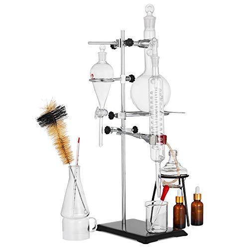 VEVOR Kit de Vidrio para Destilación Profesional para Laboratorio 25 piezas, Unidad de Destilación Vidrio de Laboratorio, Aparato de Destilación con Condensador, Destilación de Vidrio Agua Pura 500 ml