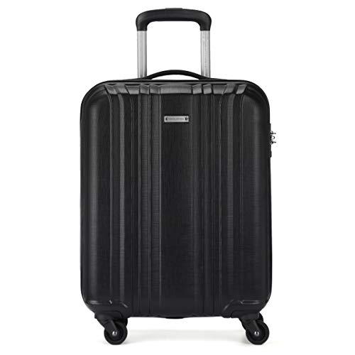 David Jones - Valise Cabine Coque Rigide Légère Matière ABS - Bagage à Main Avion 55x40x20 - Trolley 4 Roues Fermeture Serrure TSA - Sac Voyage Ryanair Easyjet - Noir