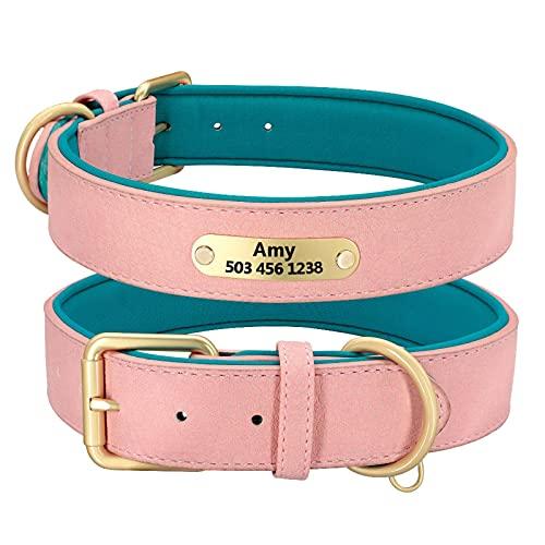N\C Collar de Perro Grabado Personalizado, Collares Acolchados de Cuero para Perros con Placa de identificación Personalizada, 2 Capas para Perros pequeños y Grandes Pitbull