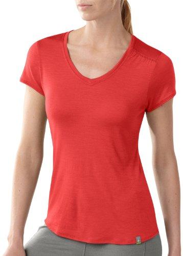 Smartwool t-Shirt à Manches Courtes et col en v pour Femme Medium Rouge - Lever de Soleil
