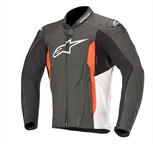 Alpinestars Faster - Chaqueta de piel para hombre, color negro, blanco y rojo