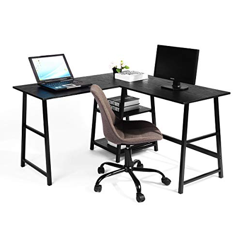 Escritorio de ordenador con cajón de ordenador, gran esquina en forma de L, ordenador portátil, escritorio, mesa de estudio, mesa de trabajo, consola de juegos para el hogar y la oficina
