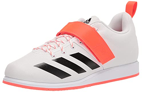 adidas Men's Powerlift 4 Weightlifting Track and Field Shoe, White/Black/Solar Red, 10.5