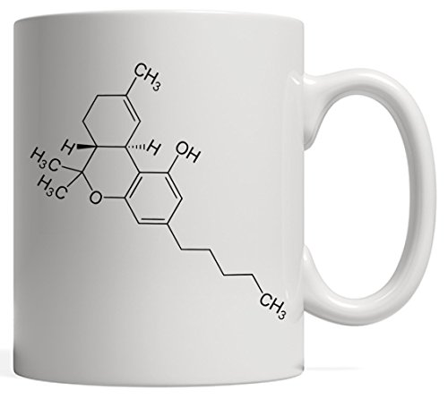 THC Molecule Tetrahydrocannabinol Cannabis Mug - For the 420 Buds Pot & Marijuana Lovers! Stoner Weed Day Gifts For All