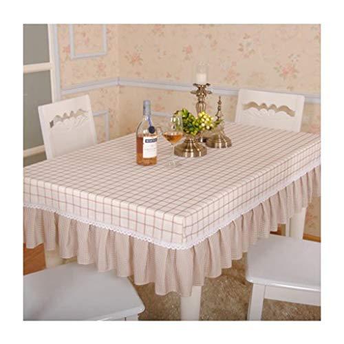Rechthoekig tafelkleed, bruin geruit, voor eettafel, salontafel