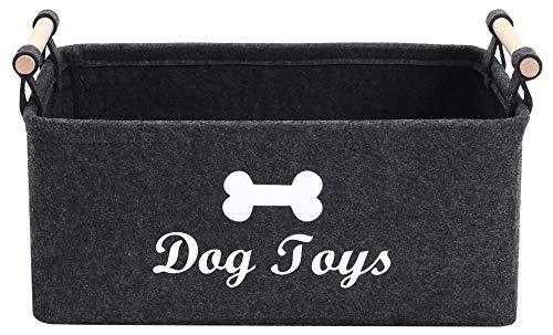 MOREZI Cesta de fieltro para juguetes para mascotas con mango de madera, adecuada para guardar juguetes para perros, ropa para perros y otros suministros para mascotas-Gris oscuro