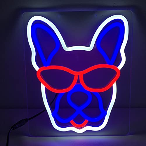 French Bulldog Cute PVC Neon Light Sign Room/Wall/Desk Display Decor, Unique Fun Gift for Frenchie Lovers, Wall Mount Screws and Instructions Included