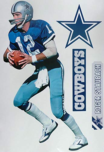Roger Staubach FATHEAD Graphic + Dallas Cowboys Logo Set Official NFL Vinyl Wall Graphics 17' INCH