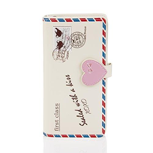 Shagwear portafoglio per giovani donne, Large Purse : (busta beige/Letter)