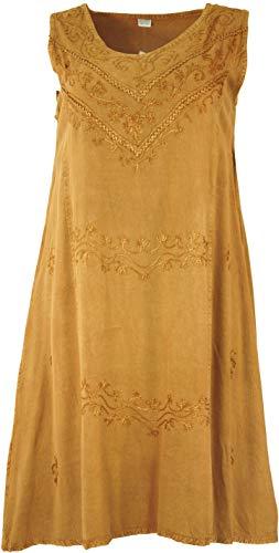 Guru-Shop Besticktes Boho Sommerkleid, Midikleid, Indisches Hippie Kleid in 7/8 Länge, Mustard, Damen, Design 6, Synthetisch, Size:40, Lange & Midi-Kleider Alternative Bekleidung