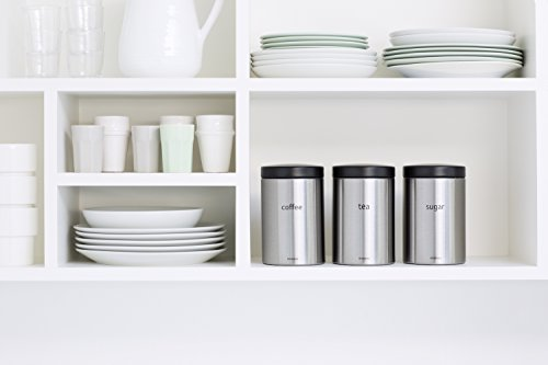 Brabantia Tea, Coffee and Sugar Canisters, Fingerprint Proof, 1.4 L - Matt Steel, 3 Pieces