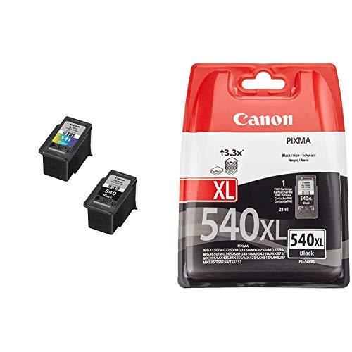 Canon PG-540+ CL-541 Cartucho Multipack de Tinta Original Negro y Tricolor para Impresora de inyeccion de Tinta Pixma + Original PG-540XL Cartucho Fino Negro