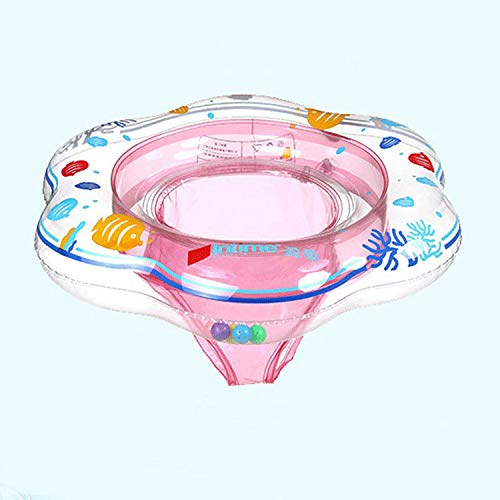 JGUSVYT Inflatable swimming ring with floating seat, baby double-airbag swimming ring with safety seat, suitable for infants from 6 to 12 months old, three colors are available Pink
