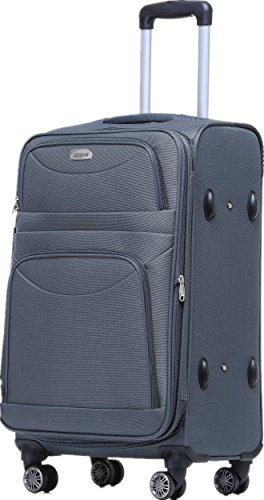 BEIBYE 8009 TSA Schloß Stoff Trolley Reisekoffer Koffer Kofferset Gepäckset (Grau, XL)