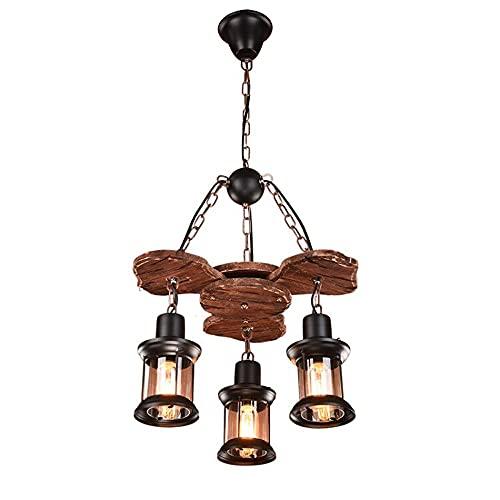Lighfd 3-Licht-Holz-Retro-Pendelleuchte,Boot Holzruder Café antiker Kronleuchter E27, Schmiedeeisen hängende Kettenlichter,Höhenverstellbare Edison-Glühbirne Pendelleuchte für Küche Café Esszimmer Woh