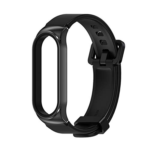 for Miband 5 4 3 Silica Gel Smart Bracelet for Mi Band 5 Strap Silicone Correas for Xiaomi Mi3 Opaska Bend 4 Pulseira Wristbands (Color : CS Black, Size : for Mi Band 3 4 5)