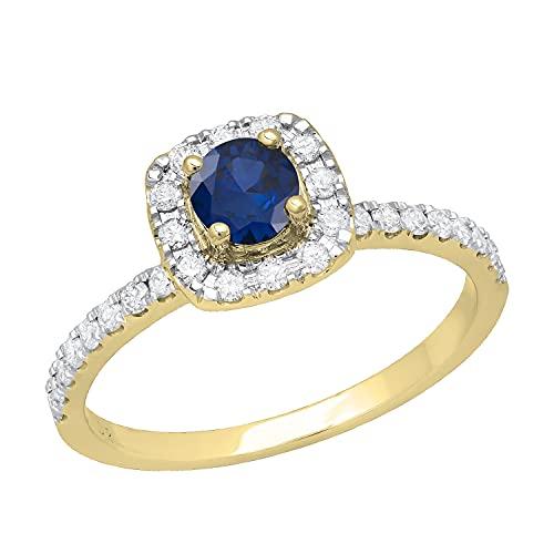 Dazzlingrock Collection Anillo de compromiso redondo de 4,5 mm con zafiro azul y diamante blanco, impresionante estilo halo para ella con piedras de hombro, oro amarillo de 14 quilates, talla 5