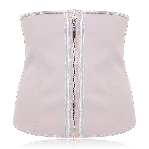 XKMY Lencería doble fija, talla grande, látex para entrenamiento de cintura con cremallera (color: desnudo, tamaño: S)
