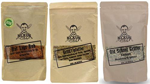 Hot Legs Rub + Grill(t) Pfeffer + Old School Griller Knoblauch - von Klaus grillt.... (2 x 250 g, 1 x 150 g Beutel)