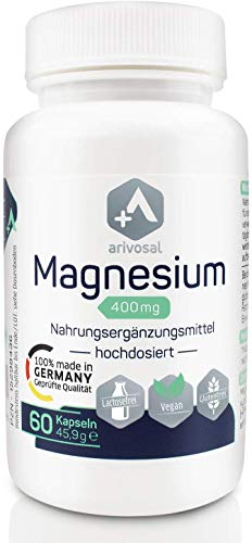 Magnesium Kapseln - 100% Made in Germany - hochdosiert 400mg elementares Magnesium, 60 Magnesiumtabletten vegan, Premium Magnesiumoxid