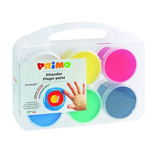 PRIMO- Tempera a Dita in vasetto, Valigetta Multiuso, 6 Colori x 100 g, Multicolore, 221TD100SP