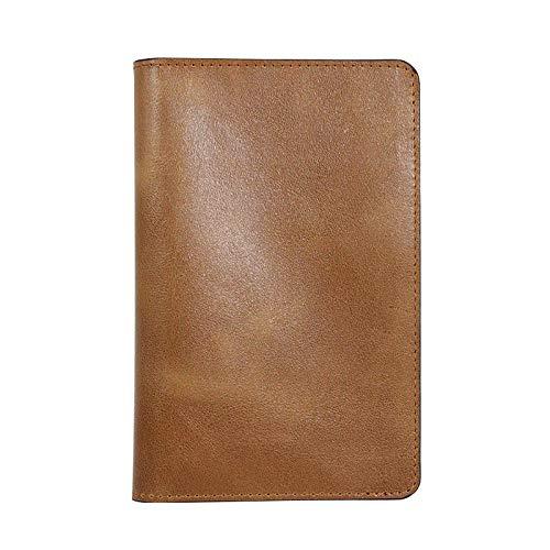 Heren lederen pashouder paspoort tas bruin leer rand kaart portemonnee kaarthouder RFID anti-diefstal borstel multi kaarthouder, geel (geel) - 9872949862367
