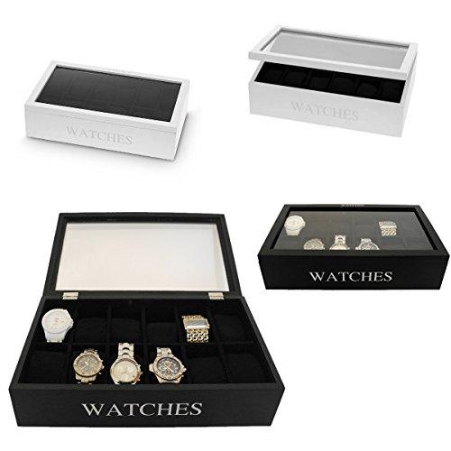 LS-LebenStil Uhrenkasten Holz Schwarz 12 Uhren Uhrenbox Uhrenschatulle Uhrenkiste