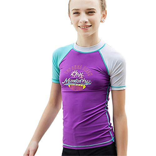 Juniors & Teens Girls Rash Guard UPF 50+ UV Sun Surfing Athletic Tops Swimwear Swim Shirt Purple