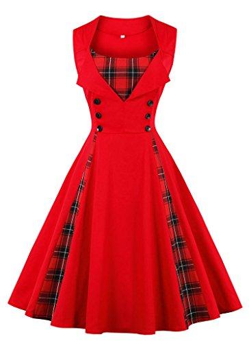 VERNASSA Abito retrò, Donne Chic Stile Vintage 1950 Vestito da Cocktail Rockabilly Swing Abito...