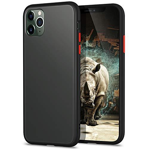YATWIN Funda para iPhone 11 Pro MAX(6,5''), [Shockproof Style] Transparente Mate Case, TPU Bumper Rubber y Botones Coloridos, Carcasa Protectora para iPhone 11 Pro MAX 2019 - Negro Clasico