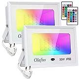 Olafus 2x 35W Focos LED RGB de Colores Dimmable, Función de Memoria, 16 Colores 4 Modos, IP66 Impermeable, Proyectores LED Colores con Control Remoto, para Decoración Fiesta, �rbol, Jardín, Bar, Pared