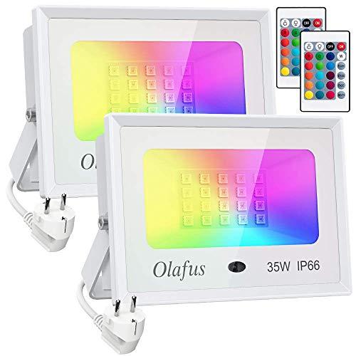 Olafus 2er 35W RGB LED Strahler Fluter Außen, Farbig LED Fluter mit Fernbedienung, Farbwechsel Flutlichtstrahler, Bunt Außenstrahler IP66 Wasserdicht LED Flutlicht, Garten Stimmungslichter