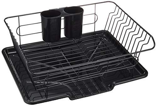 パール金属 食器 水切り かご 水が流れる トレー付 ブラック タテ置き 黒 アルデオ HB-4594