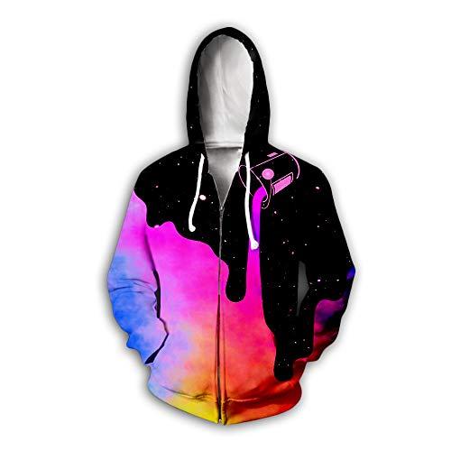 Kongtou - Sudadera con capucha y cremallera digital con impresión digital 3D, sudadera con capucha, para hombre y mujer, de manga larga con cremallera