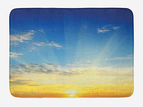 Tapis de bain ciel, rayons de soleil au-dessus de l