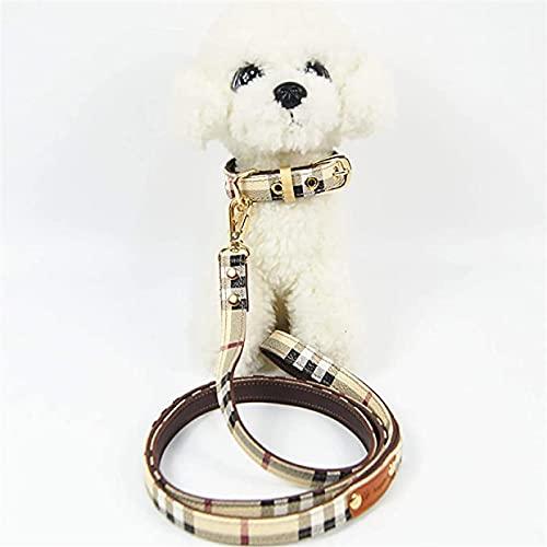 Notens - Conjunto de collar y correa de piel para perro, resistente, cómodo y flexible, collar de entrenamiento de perro y correa trenzada, cadena XL A