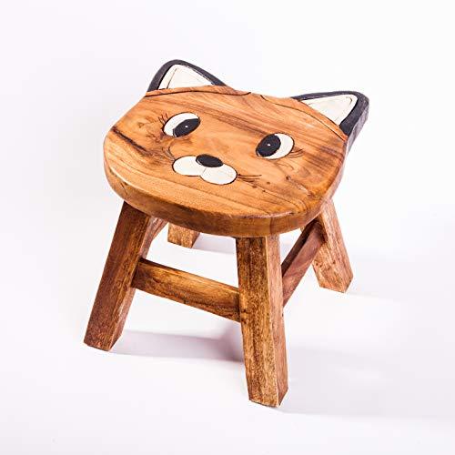 Kinderhocker, Schemel, Kinderstuhl massiv aus Holz mit Motiv Katze, 25 cm Sitzhöhe für unsere Kindersitzgruppe