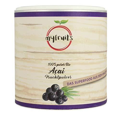 myfruits® Bio Acai Pulver - gefriergetrocknet, ohne Zusätze, dunkelviolett. Das Superfood aus dem Amazonas. Aus 3,6 kg frischen Acai Beeren (200g)