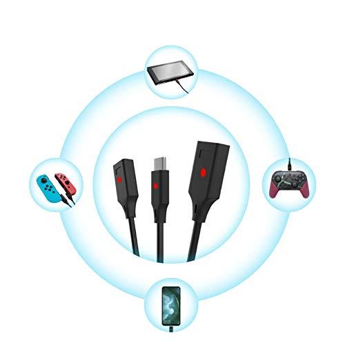 AURALLL Cambio de Interruptor para el Interruptor Nintendo Cable de Carga de Tres en uno Joy con Mango pequeño/Host/teléfono móvil Cable de Datos universales