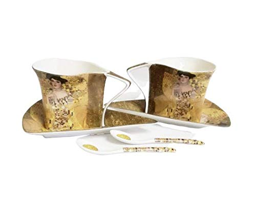 Atelier Harmony Teetassen Kaffeetassenset 6teilig Gustav Klimt Adele Porzellan mit Geschenkbox NEU beige/Gold