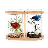 ZLQBHJ Acuarios, Aquarium Fish Tank Mini Ecological Living Goldfish Tank Room Tempered Glass Office Desktop Goldfish Tank Bamboo Wooden Desktop Aquarium Kit