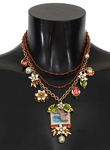 Dolce & Gabbana Gold Floral Crystal Beaded Sicily Charms Necklace