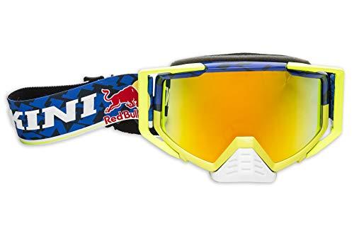 KINI Red Bull Competition Goggles – Motorcross Brille für Herren, Motorsport, Schutz, Abnehmbarer Nasenschutz, Verhindert Schweißbildung – Navy/Yellow