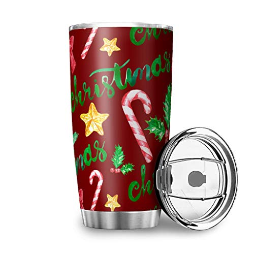 Muerlinanajj Christmas Red thermobeker drinkbeker Tumbler Travel Mok werkt uitstekend voor ijs- en warme dranken White 600ml