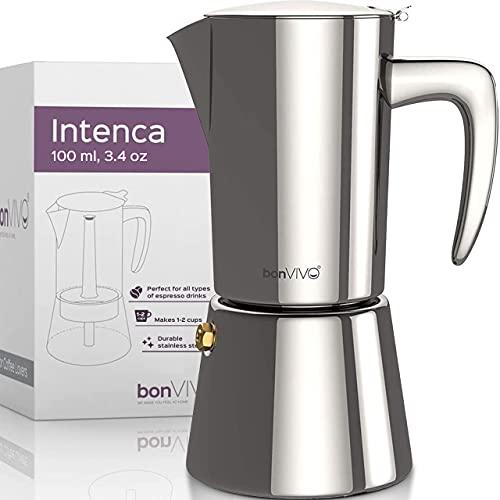 bonVIVO Intenca Caffettiera, Moka, Caffettiera Acciaio Inox - Caffettiera per Espresso, Macchine Caffe da 2 Tazze (100ml) in Acciaio Inox con Rifiniture Cromate