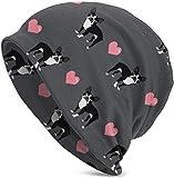 Whecom Strickmützen, Grey Boston Terrier Love Hearts Valentine Funny Upgrade Hip-hop Adult Pullovers, Adult Knit Beanie Warm Knit Ski Skull Cap Beanie Mütze One Size für Damen und Herren