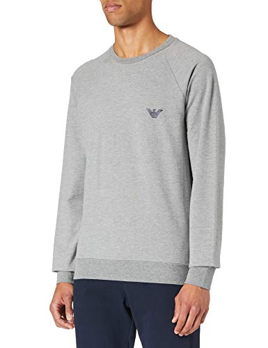 Emporio Armani Underwear Mens Sweater All Over Logo Terry Sweatshirt, Melange Grey, L