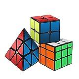ROXENDA Cubos de Velocidad, Original Magic Cube Set de 2x2 3x3 Pyramid Speed Cube, Fácil Rotación & Juego Suave...